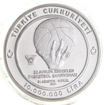 2001 Turkey 10,000,000 Lira - Eurobasket - Proof