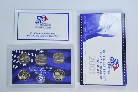 2001-S 5 Coin State Quarter Proof Set w/ Box & COA