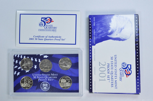 2001-S 5 Coin State Quarter Proof Set w/ Box & COA