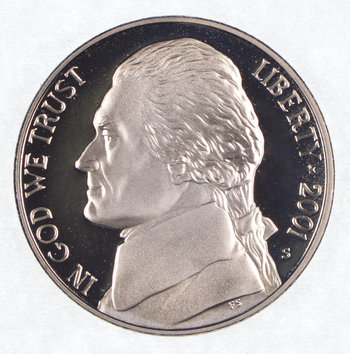 2001-S Proof CAMEO - Jefferson Nickel - San Francisco Minted