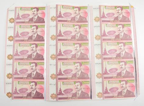 2002 Iraq 10,000 Dinar Bank Notes Uncut Sheet - 15 Pieces