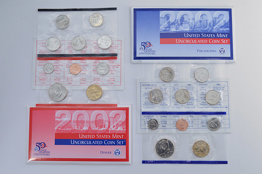 2002 Official U.S. Mint Set P & D - 20 Uncirculated Coins Including Sacagawea Dollars and State Quarters