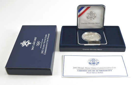 2002 Olympic Winter Games Commemorative Salt Lake Proof Silver Dollar w/ Box & COA