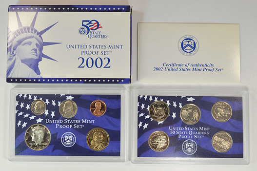 2002-S 10 Coin Deep Cameo U.S. Proof Set - Includes 5 State Quarters and Sacagawea Dollar