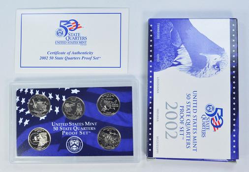 2002-S 5 Coin State Quarter Proof Set w/ Box & COA