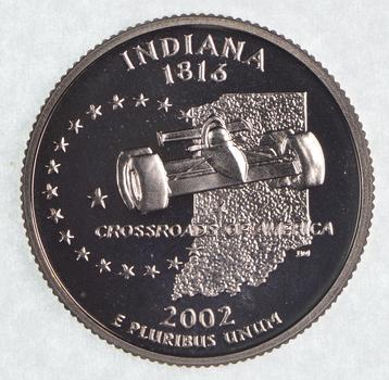 2002-S Indiana State Washington Quarter - Proof Cameo