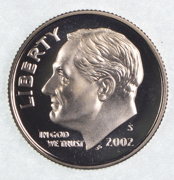 2002-S Proof Cameo Roosevelt Dime - San Francisco Minted
