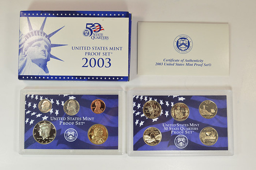 2003-S 10 Coin Deep Cameo U.S. Proof Set - Includes 5 State Quarters and Sacagawea Dollar