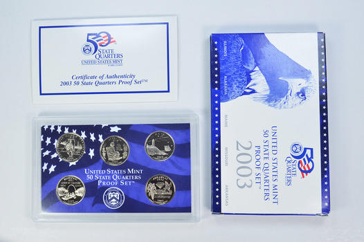2003-S 5 Coin State Quarter Proof Set w/ Box & COA