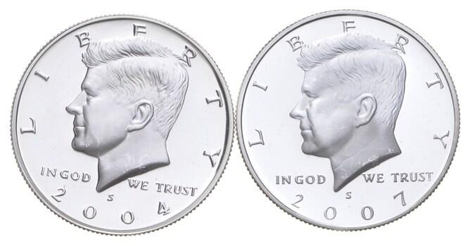 2004-S & 2007-S Gem Deep Cameo Proof Kennedy Half Dollar 90% Silver