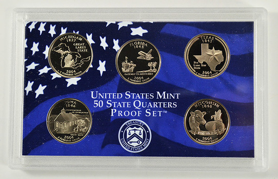 2004-S 5 Coin State Quarter Proof Set