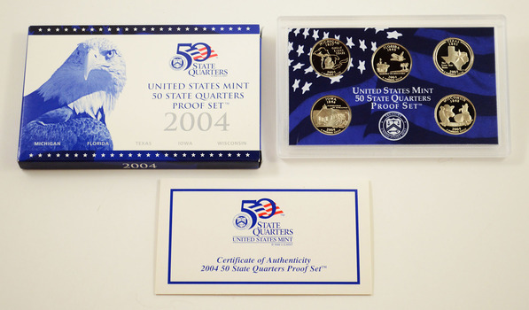 2004-S 5 Coin State Quarter Proof Set w/ Box & COA
