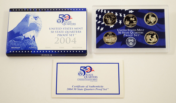 2004-S 5 Coin State Quarter Proof Set w/ Box & COA