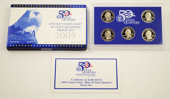 2005-S 5 Coin State Quarter Proof Set w/ Box & COA