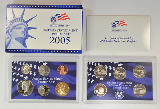 2005-S Deep Cameo Proof Set - Includes 5 State Quarters, Golden Sacagawea, Bison and Ocean In View Nickels - 11 Coins