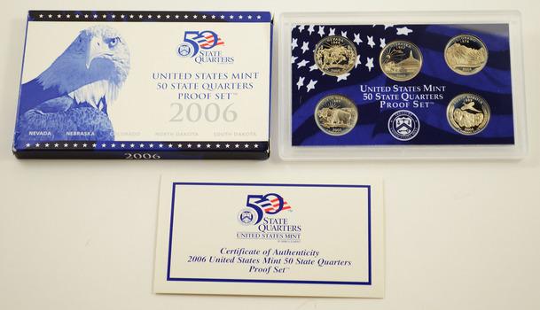2006-S 5 Coin State Quarter Proof Set w/ Box & COA