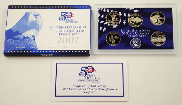 2007-S 5 Coin State Quarter Proof Set w/ Box & COA