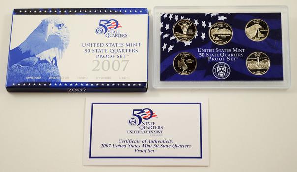 2007-S 5 Coin State Quarter Proof Set w/ Box & COA