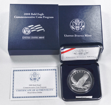 2008 Bald Eagle Commemorative Proof Silver Dollar w/ Box & COA