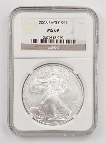 2008 MS-69 American Silver Eagle - Graded NGC MS-69