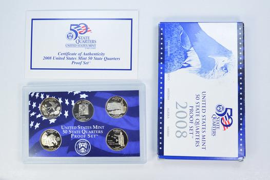 2008-S 5 Coin State Quarter Proof Set w/ Box & COA