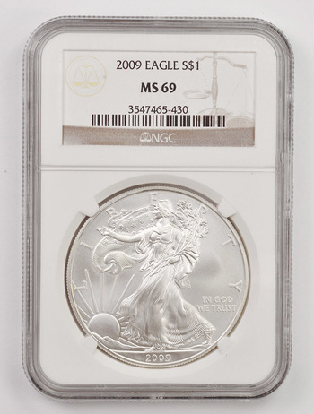 2009 MS-69 American Silver Eagle - Graded NGC MS-69