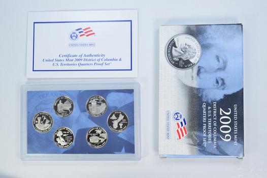 2009-S 6 Coin Territorial Quarter Proof Set w/ Box & COA