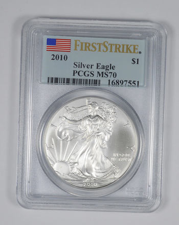 2010 $1 Silver American Eagle MS70 PCGS First Strike 1 Oz .999