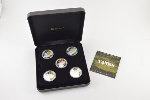 2010 Tuvalu $1 - Tanks Of WWII - 1 Oz Silver Proof - 5 Coin Set - Box & COA