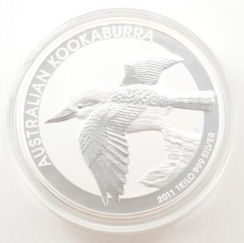2011 Australia 30 Dollars - 1kg .999 Silver - Kookaburra - Hockey Puck
