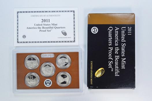 2011-S 5 Coin National Park Quarter Proof Set w/ Box & COA