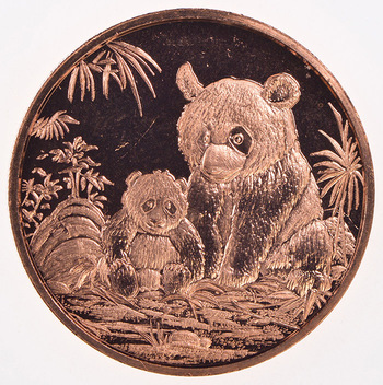 2012 One Oz .999 Fine Copper Panda Round