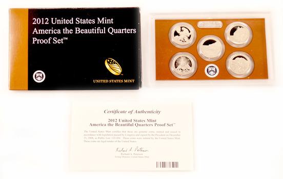 2012-S 5 Coin National Park Quarter Proof Set w/ Box & COA