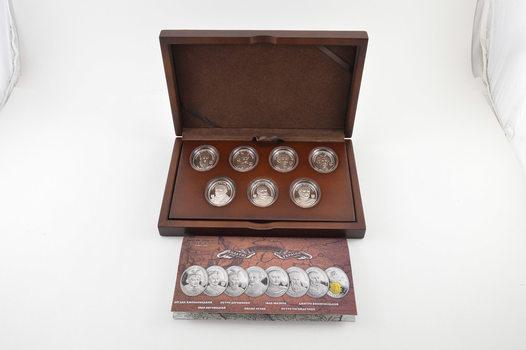 2013 Niue $1 - Great Ukrainian Hetmans - .999 Silver Proof With Gilding - 7 Coin Set - Box & COA