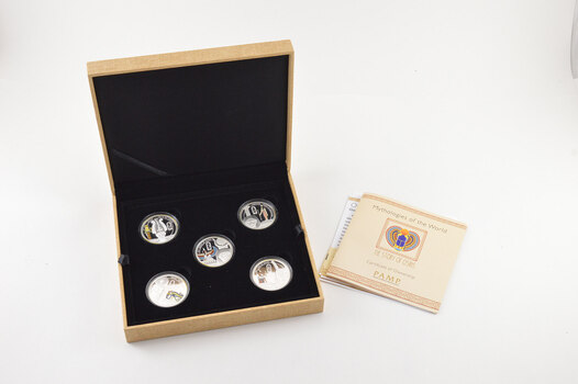 2013 Niue $2 - Mythologies Of The World - Story Of Osiris - 25 Grams Silver Proof - 5 Coin Set - Box & COA