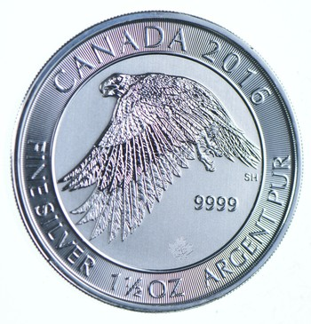 2016 1.5 oz Canada Silver White Falcon $8 Coin .9999 Fine Brilliant Uncirculated