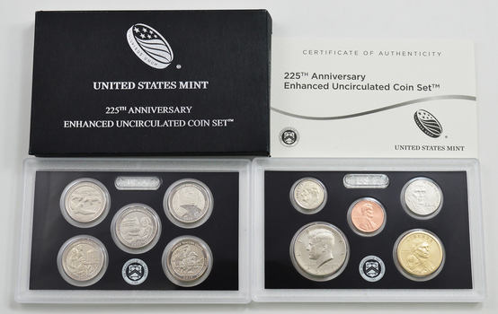 2017 US Mint 225th Anniversary Enhanced Uncirculated Coin Set - Low Mintage - 10 Coins Total!