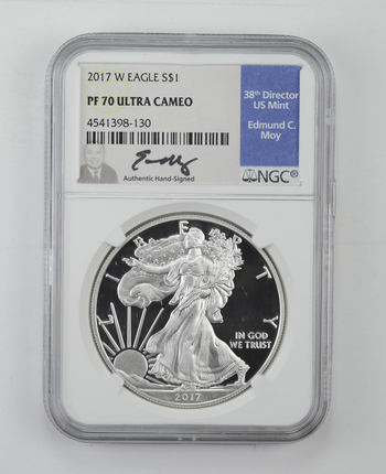 2017-W American Silver Eagle Proof - NGC PF70 UCAM Moy Signed