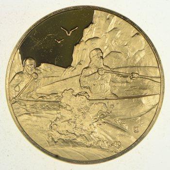 24K Gold Gild - Blackfoot, Idaho - .925 Sterling Silver 33.5 grams Round!