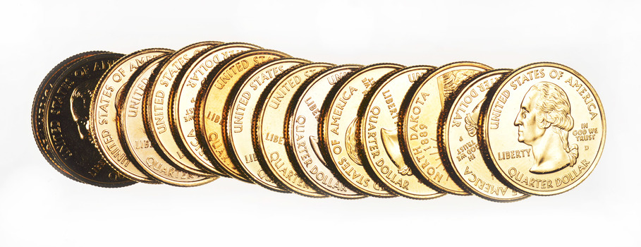 24kt GOLD PLATED - Mixed Lot Of 15 Gold Plated Quarters