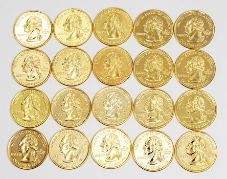 24kt GOLD Plated - Mixed Lot Of 20 Gold Plated Quarters
