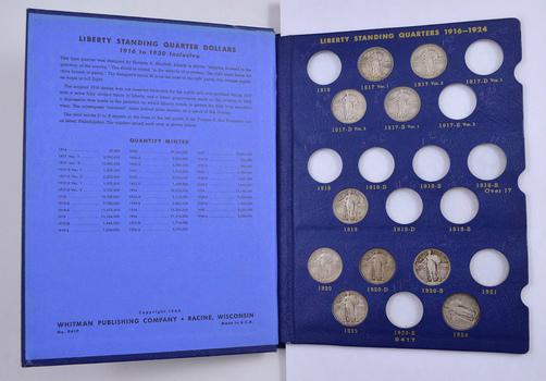 25 Coins - 1917-1930 Liberty Standing Quarters Album Partial Set
