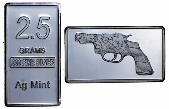 2.5 Gram .999 Fine Silver Bar - American Flag Revolver - Only 300 Pcs Minted!