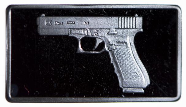 2.5 Gram .999 Fine Silver Bar -FamousGlock Hand Gun- Only 300 Pcs Minted!