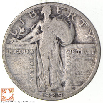 25c - 1929 Standing Liberty Quarter - 90% Silver