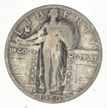 25c - 1929-S Standing Liberty Quarter - 90% Silver