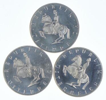 (3) 1965 AUSTRIA Spanish HORSE RIDER SILVER 5 Shilling Austrian Coin Gem
