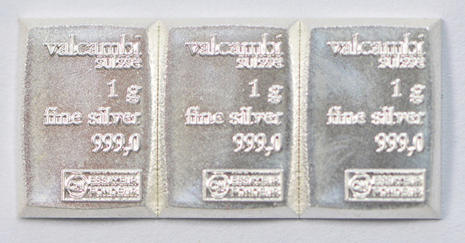 (3) One Gram .999 Fine Silver Valcambi Bar - Total of 3 Bars - Great for bartering