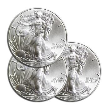 3 xRANDOM DATEAmerican Silver Eagle 1 Troy Oz .999 Fine Silver - 3 Coins For 1 Money