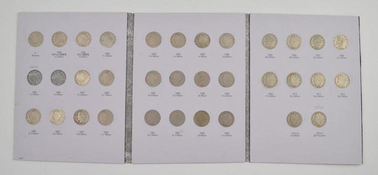 32 Coins - 1883-1912 Liberty Head Nickel Album Partial Set